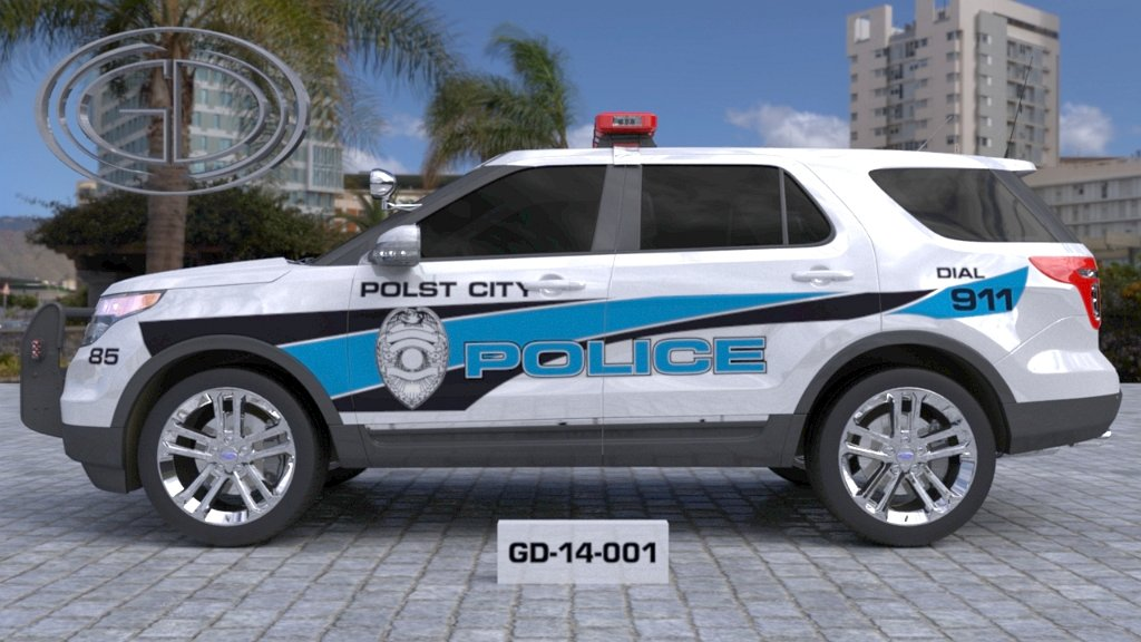 sideview design of a polst city police suv car GD-14-001
