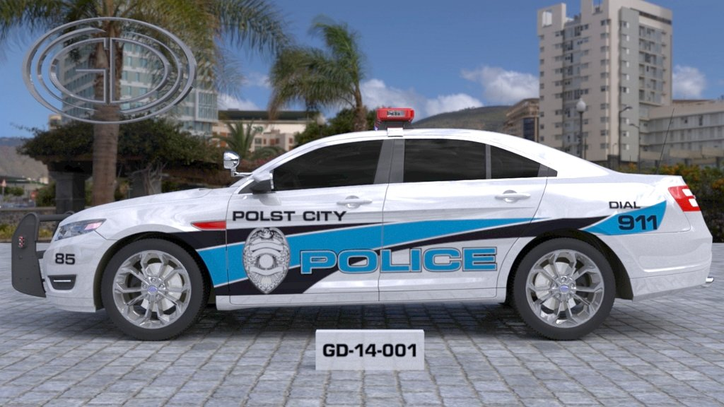 polst white police car with sky blue and black line design