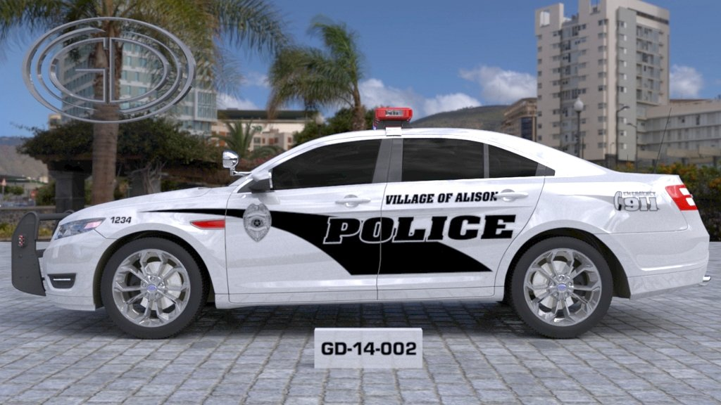 village of alison white police car with black line design