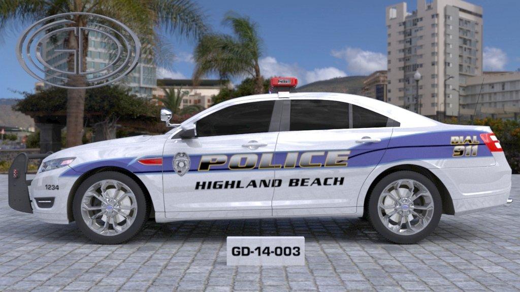 sideview design of a highland beach police car GD-14-003