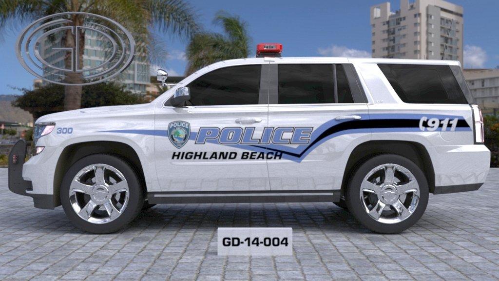 sideview design of a highland beach police suv car GD-14-004