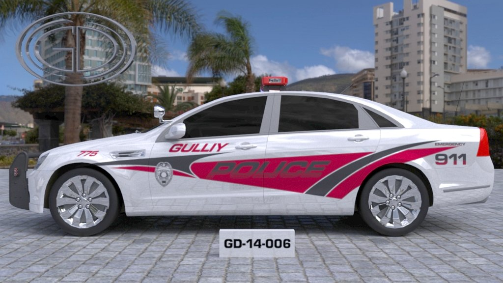 sideview design of a gulliy police car