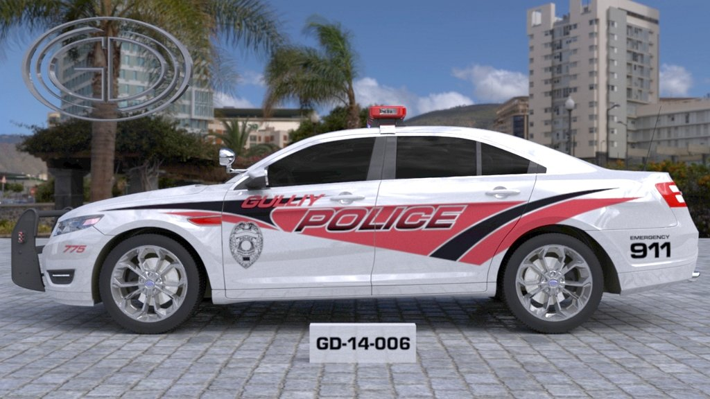 sideview design of a gulliy police car GD-14-006