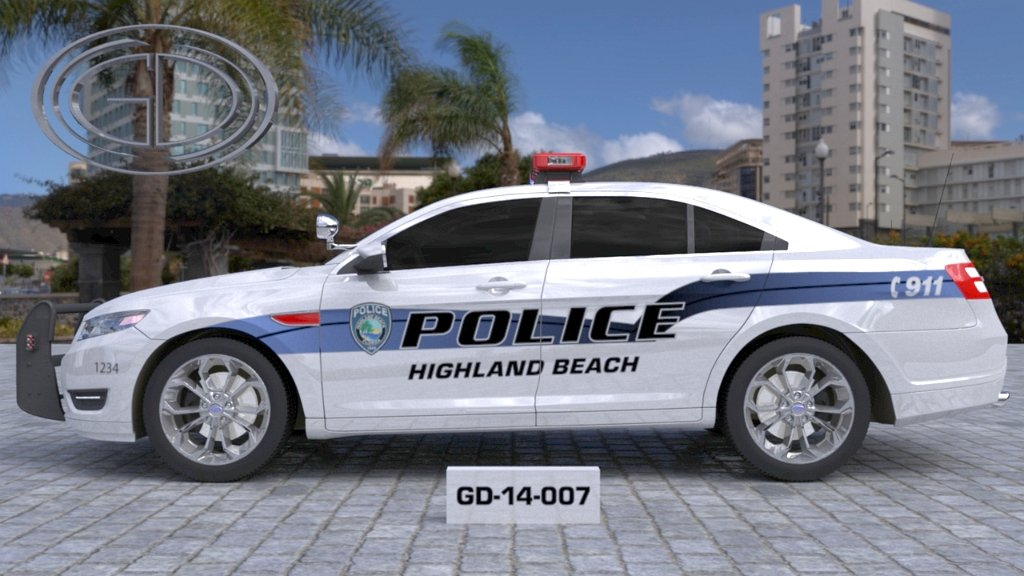 sideview design of a police highland beach car GD-14-007
