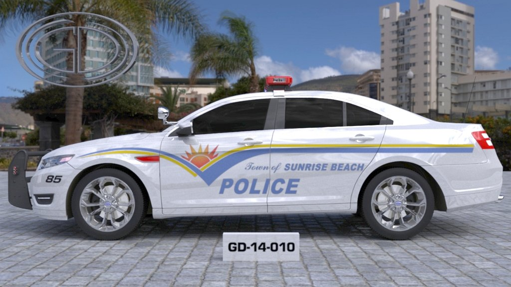 sideview design of a town of sunrise beach police car