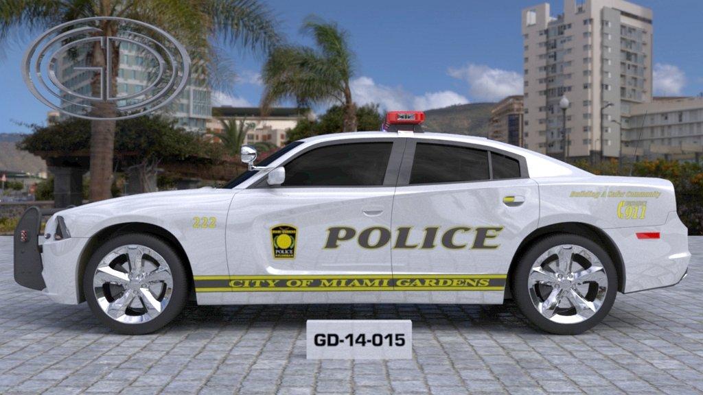 sideview design of city of miami garden police car