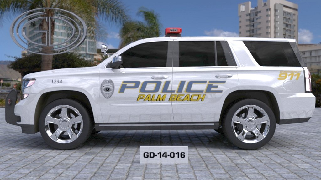 sideview design of a palm beach police suv car