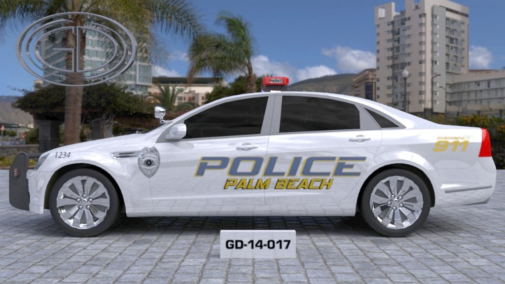 sideview design of a police car palm beach