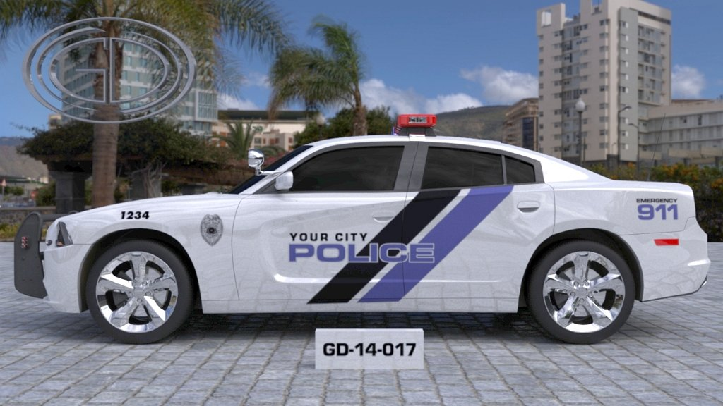 sideview design of a your city police car GD-14-017