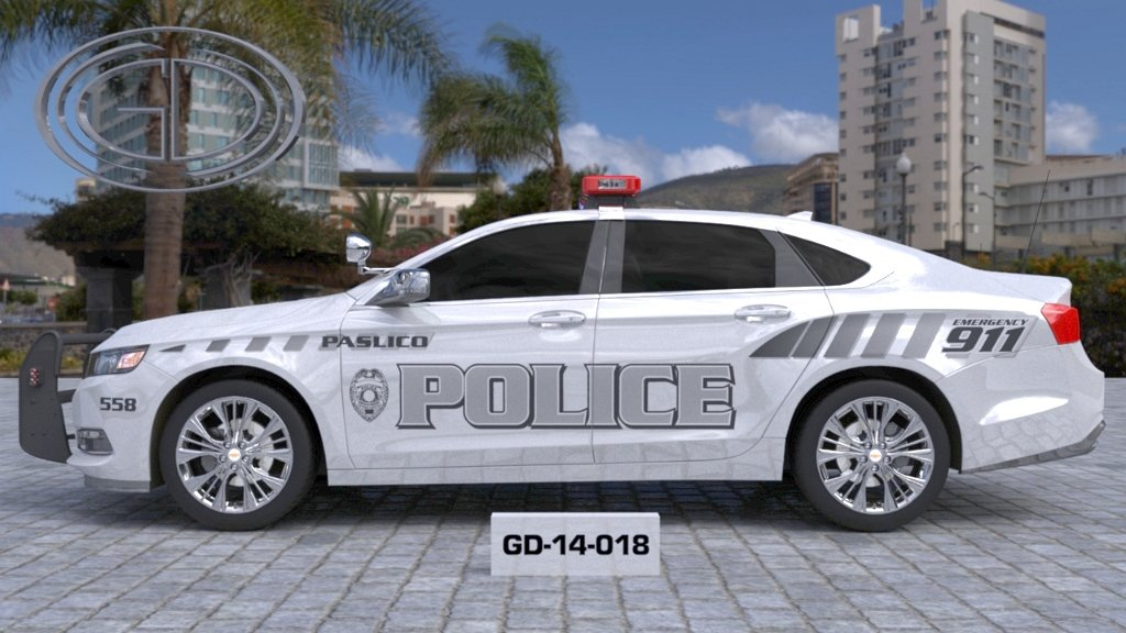 sideview design of a paslico police car