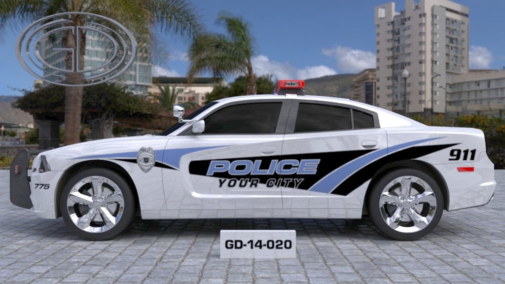 sideview design of a your city police car GD-14-020