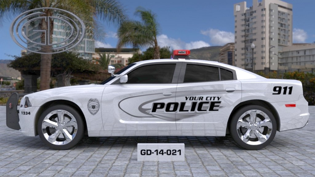 sideview design of a your city police car GD-14-021