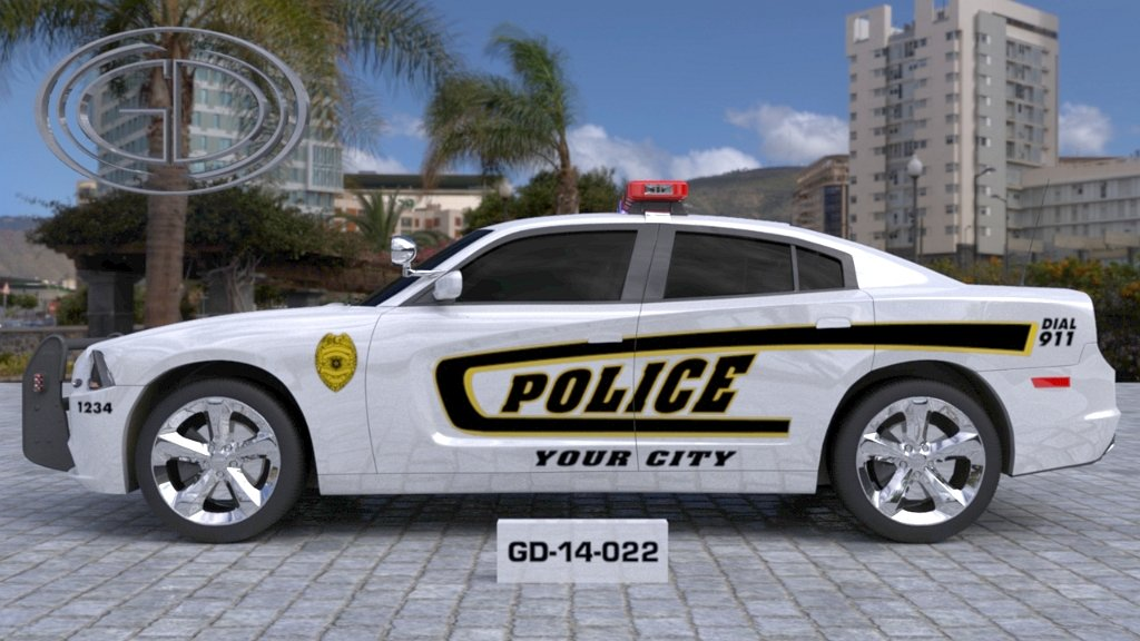 sideview design of a your city police car GD-14-022