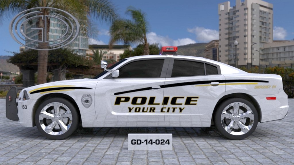 sideview design of a your city police car GD-14-024