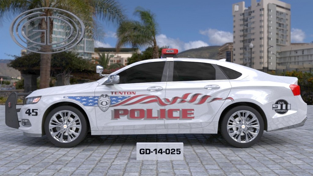 sideview design of a tenton police car