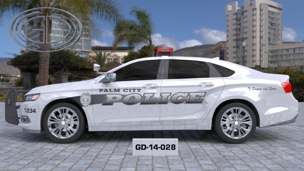 sideview design of a palm city police car