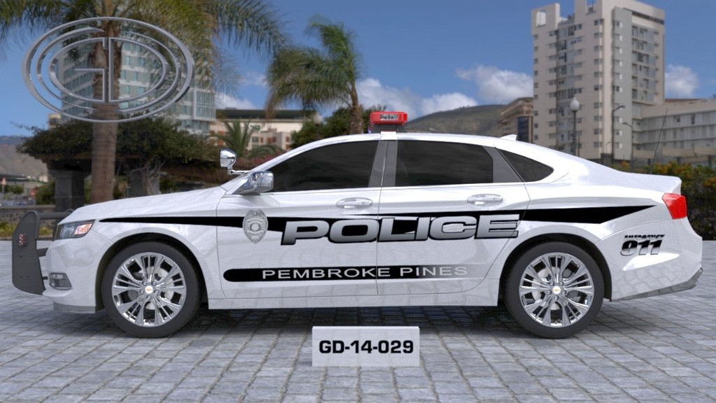 sideview design of a pembroke pines police car