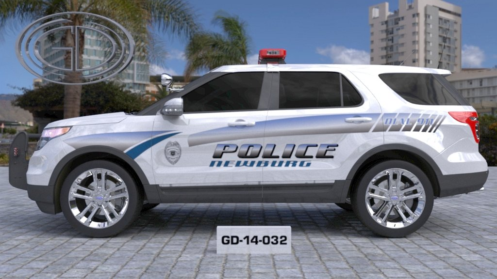 sideview design of a newburg police suv car