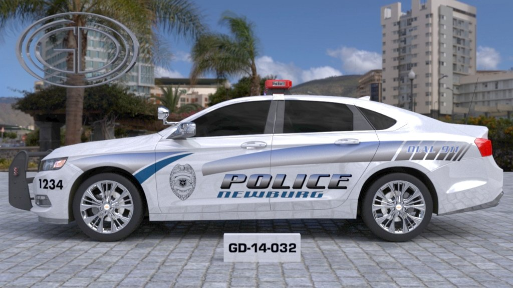 sideview design of a newburg police car