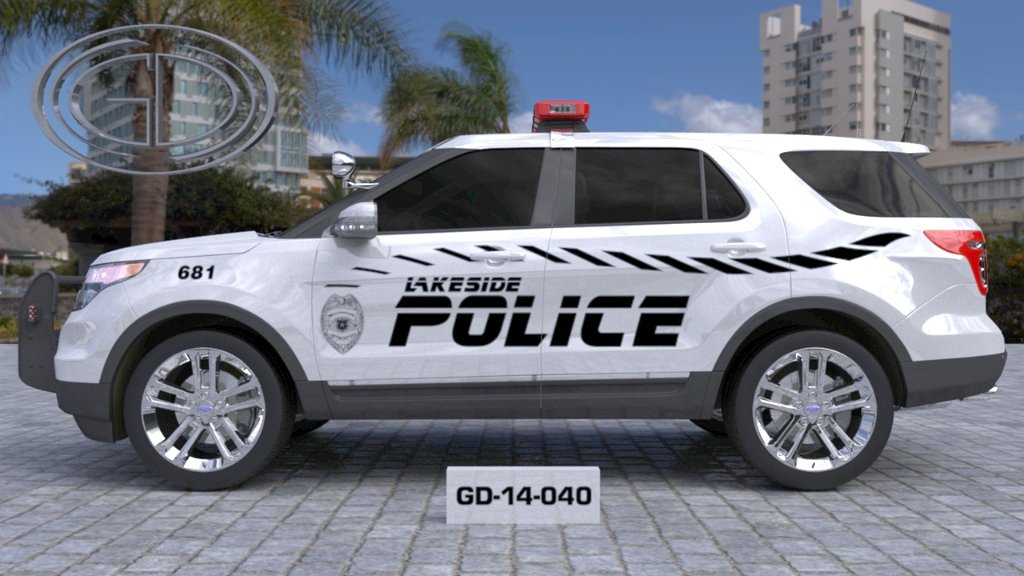 sideview design of a lakeside police suv car