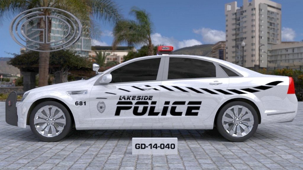 sideview design of a lakeside police car