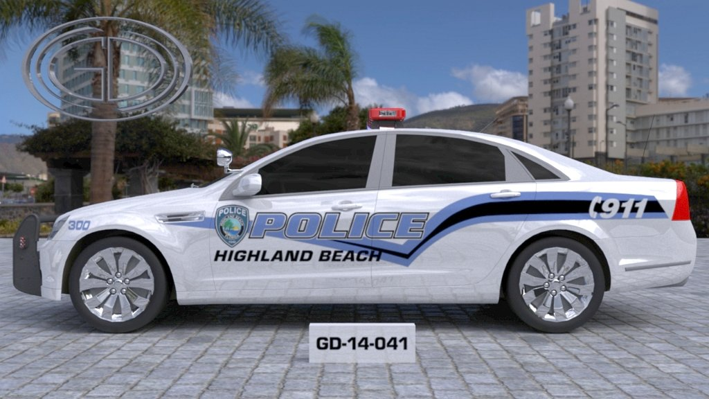 sideview design of a police highland beach car GD-14-041
