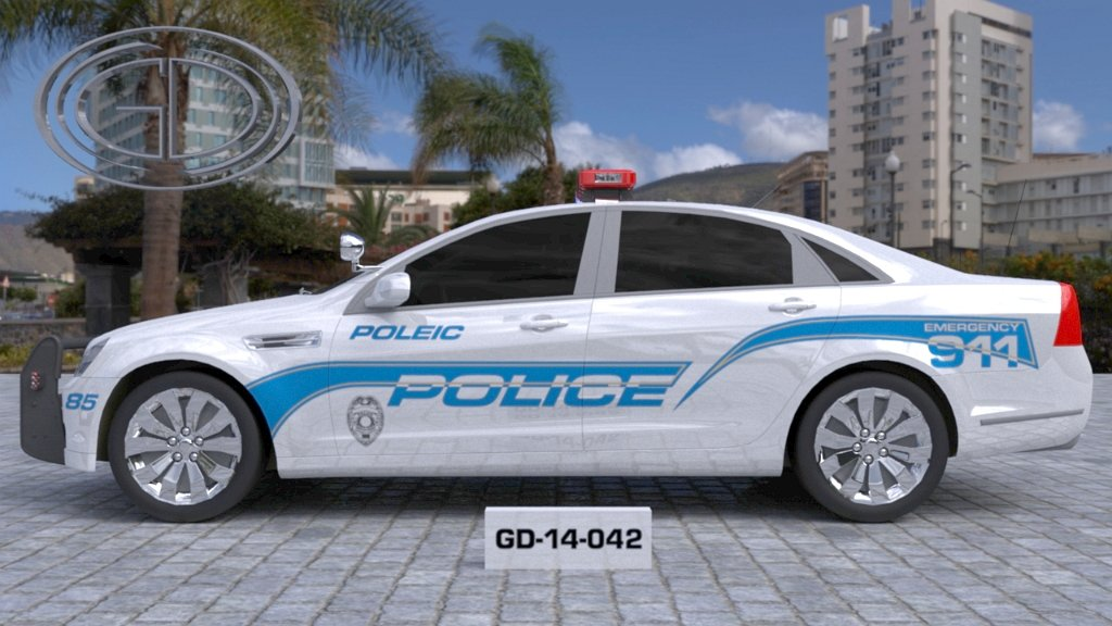 sideview design of a poleic police car