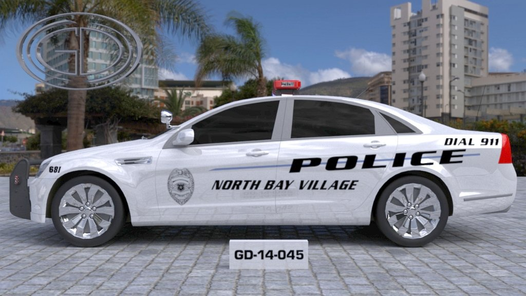 sideview design of a police car north bay village