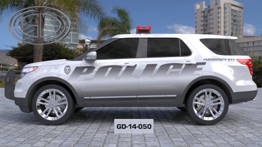 sideview of a grey designed police suv car GD-14-050