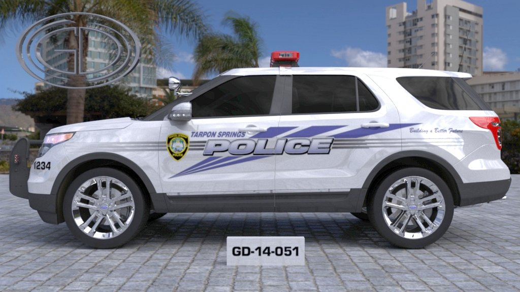 sideview design of a tarpon springs police suv car