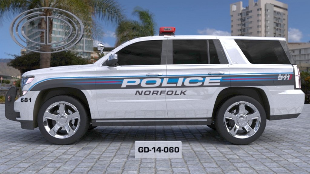 sideview design of a norfolk police suv car