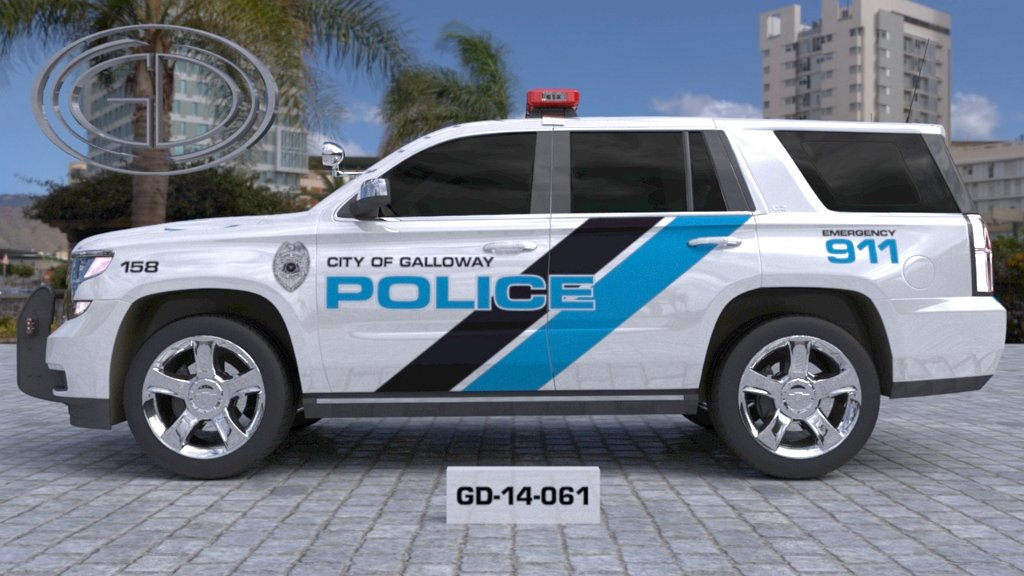 city of galloway police car with sky blue line design