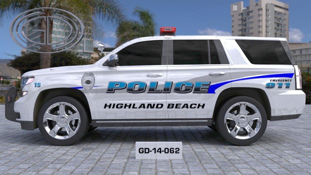 sideview design of a highland beach police car GD-14-062