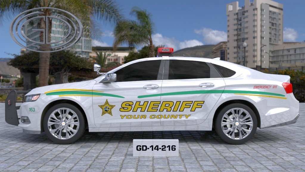 gdi sketch white sheriff car with green and yellow line design