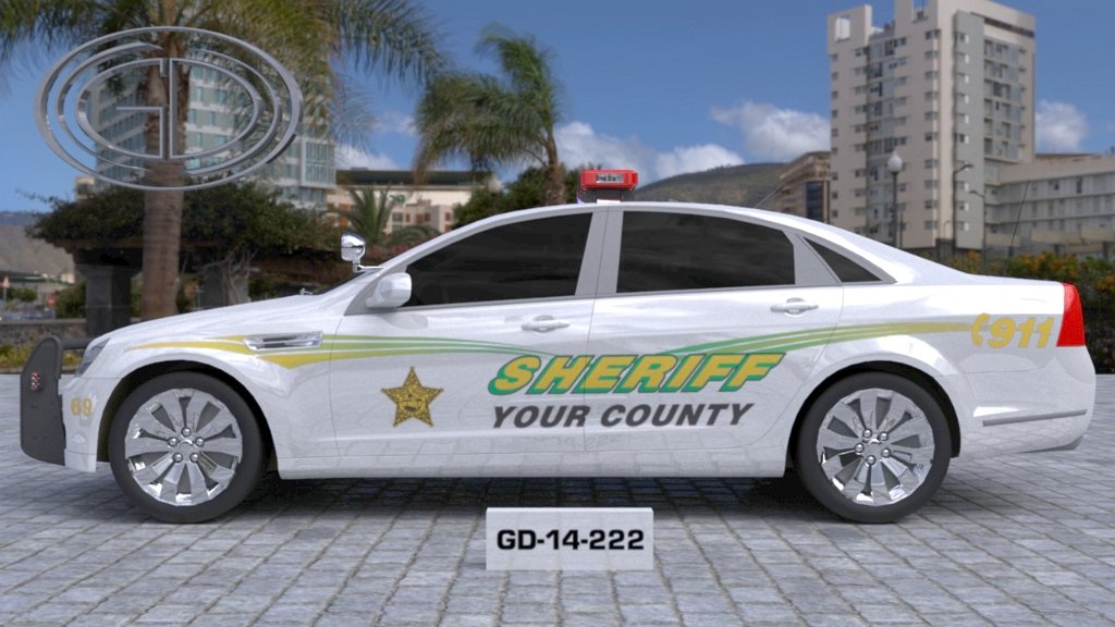 sideview design of a your county sheriff car GD-14-222