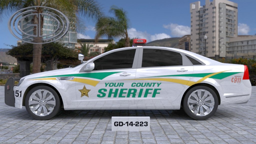 sideview design of a your county sheriff car GD-14-223