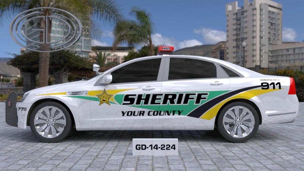 sideview design of a your county sheriff car GD-14-224