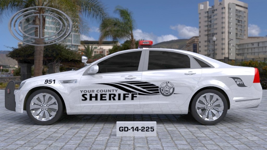sideview design of a your county sheriff car GD-14-225