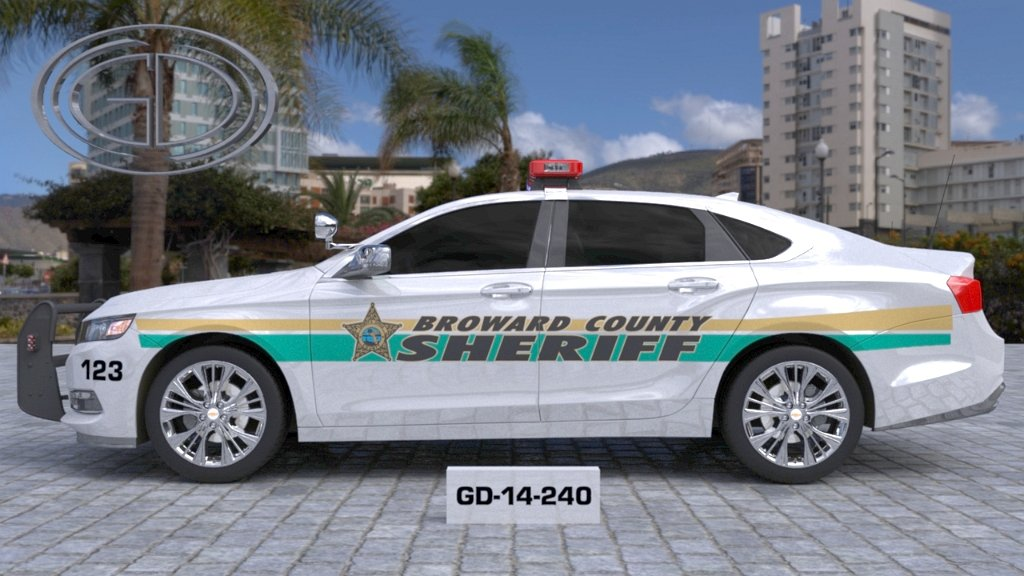 sideview design of a broward county sheriff car GD-14-240