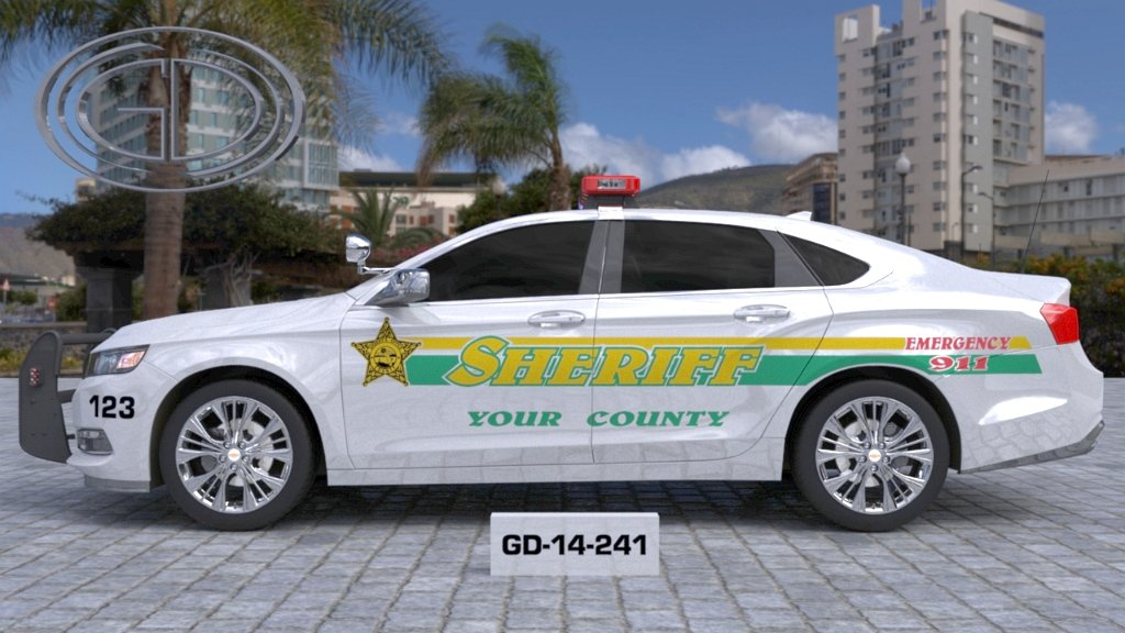 gdi design sheriff county car with green and yellow line design