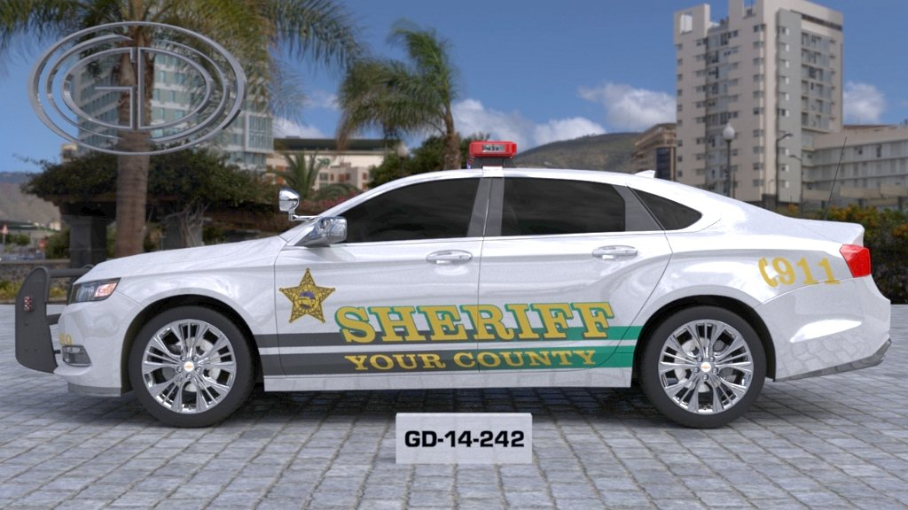 white sheriff car with grey and green font color design