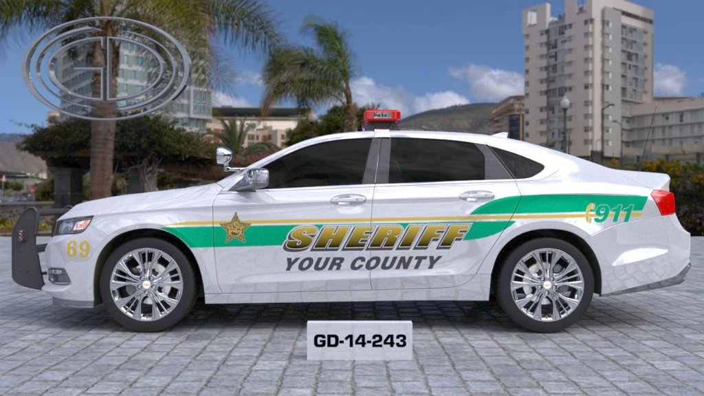 gdi design sheriff car with light green and yellow also a gold font color design