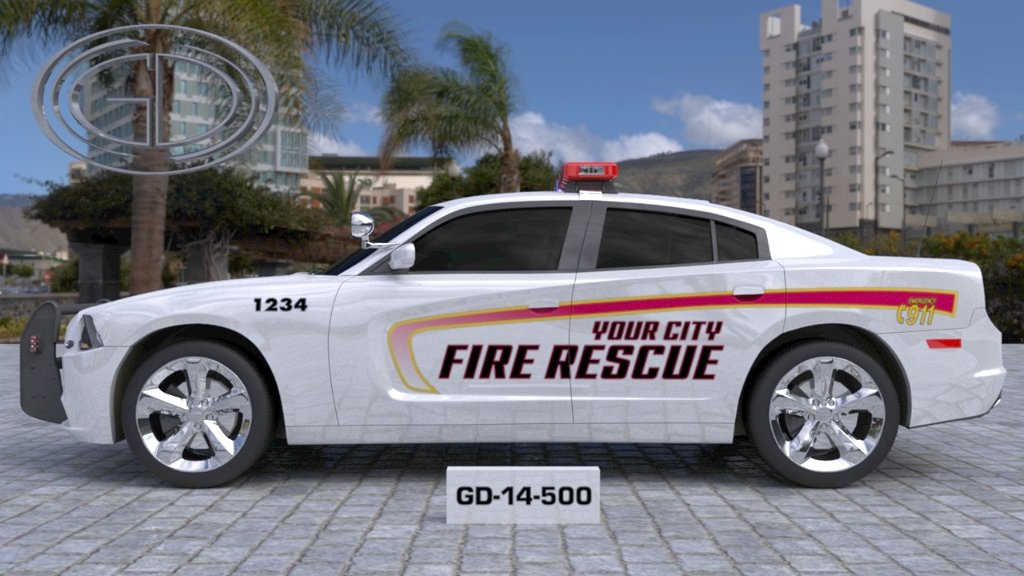 sideview design of your city fire rescue car with a model of GD-14-500