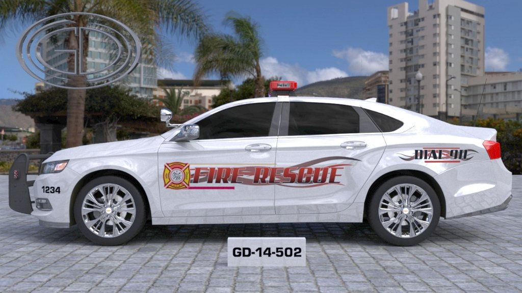 sideview design of a fire rescue car with a model number of GD-14-502