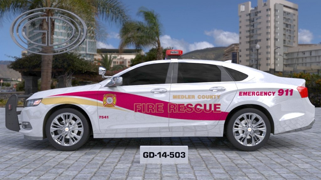 sideview design of a medler county fire rescue car