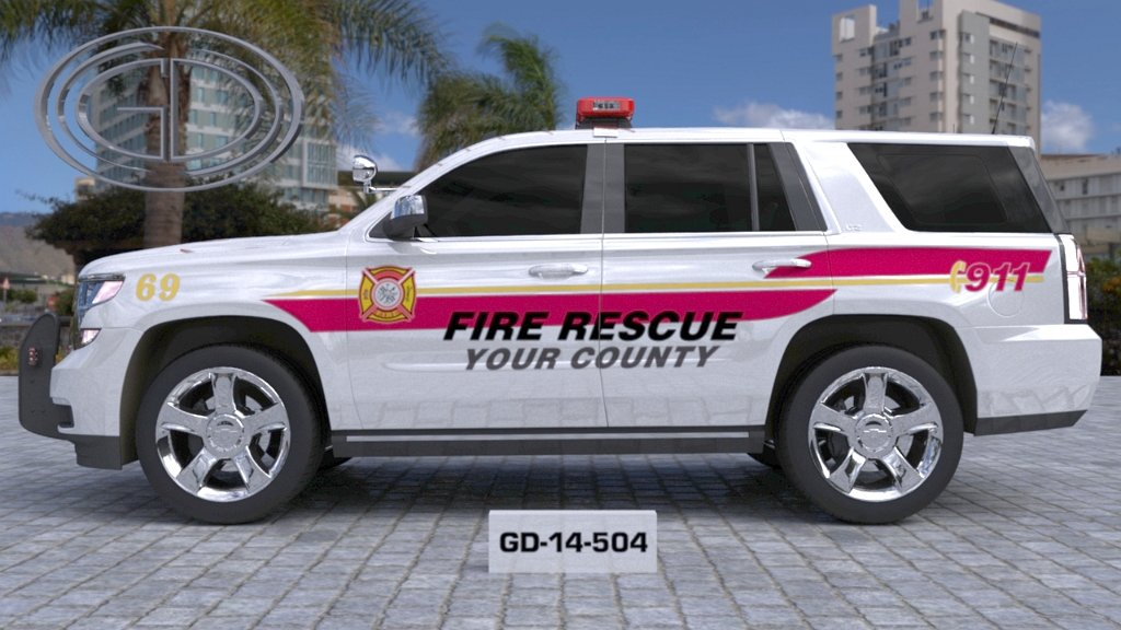 sideview design of a your county fire rescue car