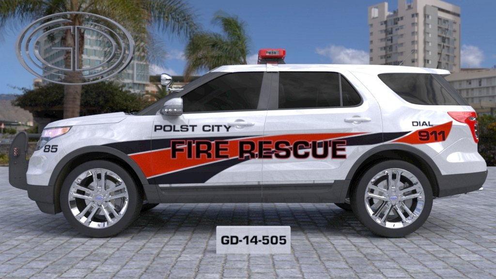 full sideview design of a polst city fire rescue car