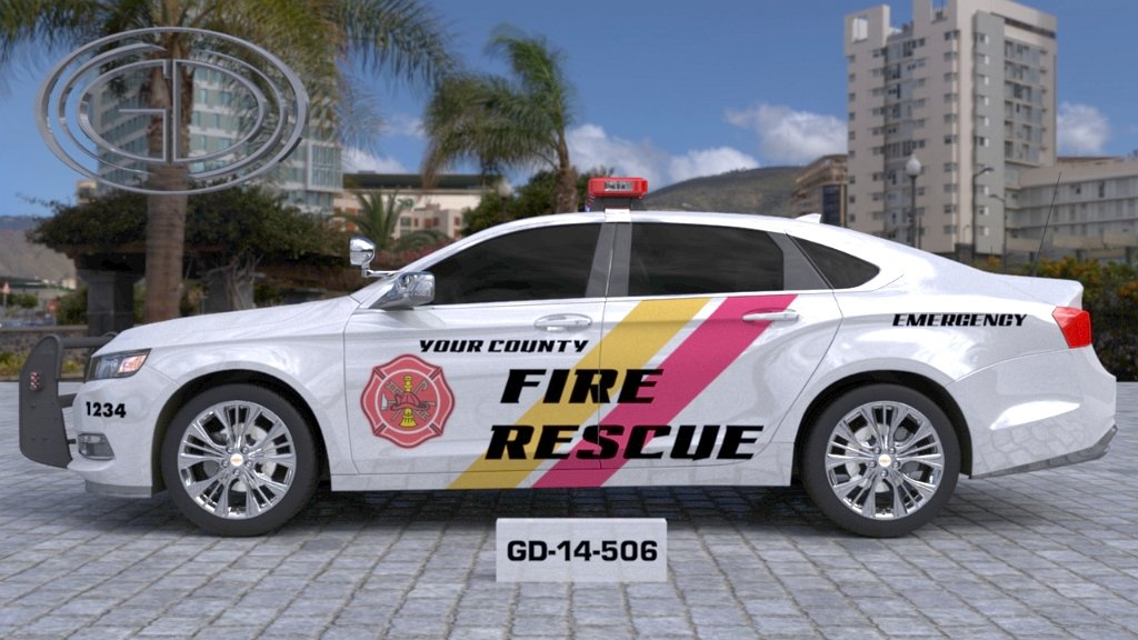 sideview of a bigger design of your city fire rescue car