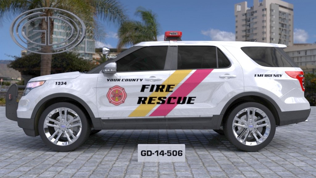 sideview design of a your county fire rescue car with a model of GD-14-506
