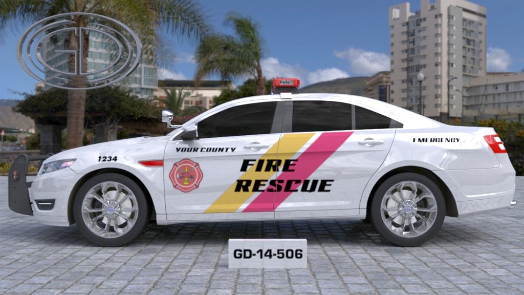 white fire rescue car with yellow and pink line design